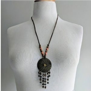 Jewelry - Metal Dreamcatcher Medallion Suede Cord Necklace